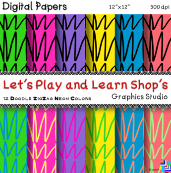 Doodle ZigZag Digital Papers in Neon Colors