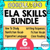 Doodle and Do ELA Skills Bundle - 6 Units - Vocabulary, Writing, Reading