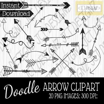 Doodle arrow clipart, doodle arrows, arrow clipart, 300 dpi, png images