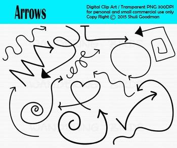 Doodle arrows clip art - neon style