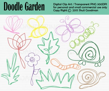 Doodle garden clip art - color and black and white