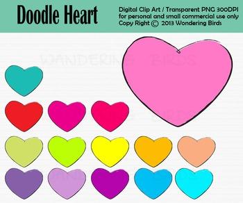 Doodle heart clip art - set of 15 clip arts
