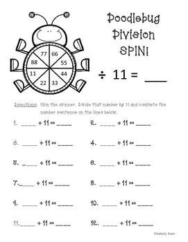 Doodlebug Division Spin!  Dividing by 11 Practice Activity/Worksheet/Center