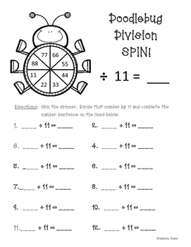 Doodlebug Division Spin!  Dividing by 11 Practice Activity