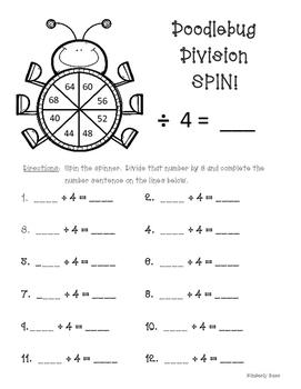 Doodlebug Division Spin!  Dividing by 4 Practice Activity/Worksheet/Center