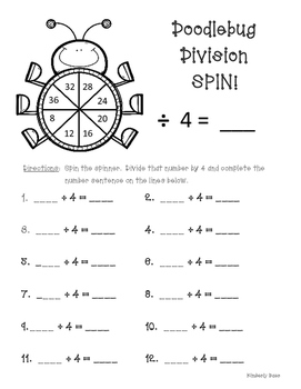 Doodlebug Division Spin!  Dividing by 4 Practice Activity/