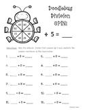 Doodlebug Division Spin!  Dividing by 5  Practice Activity/Worksheet/Center