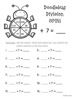 Doodlebug Division Spin! Dividing by 7 Practice Activity/Worksheet/Center