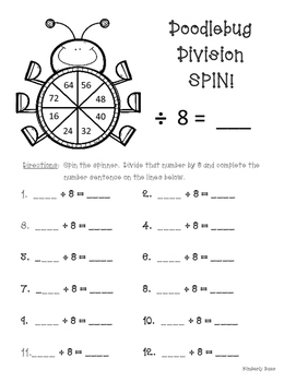 Doodlebug Division Spin!  Dividing by 8 Practice Activity/