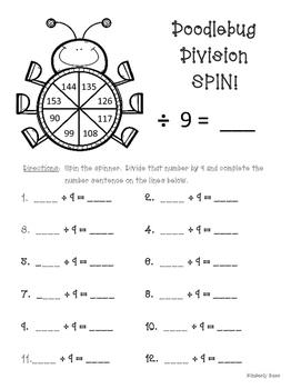 Doodlebug Division Spin!  Dividing by 9 Practice Activity/Worksheet/Center