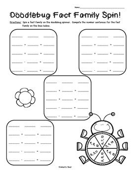 Doodlebug Fact Family Spin - Addition/Subtraction Math Activity Worksheet