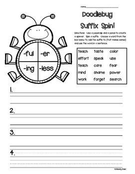 Doodlebug Suffix Spin! Suffix Writing Activity