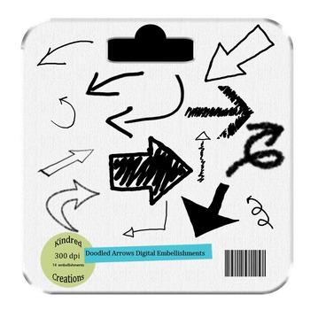 Doodled Arrows Clip Art Set