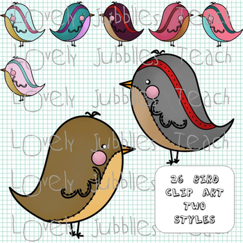 Doodled Birds and More Clip Art Set