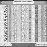 Zen Doodle Border Line Art, Geometric Page Divider ClipArt, Decorative Edges
