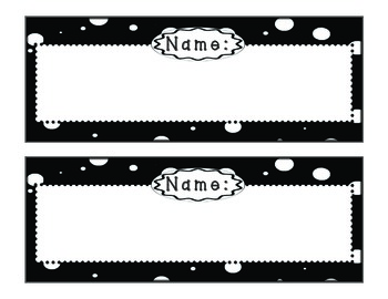 Doodles & Dots Black & White Name Plates
