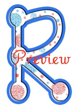 Doodles & Dots - Red and Blue - Alphabet Graphic Set
