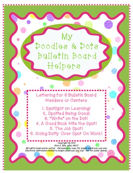 Doodles and Dots Pink and Green Bulletin Board - Center Headers
