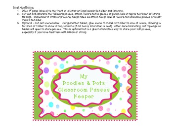 Doodles and Dots Pink and Green Classroom Passes