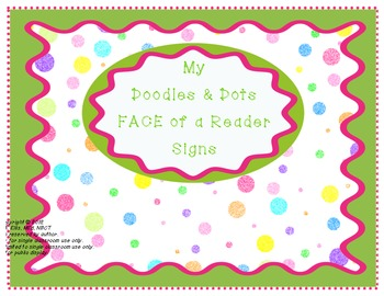 Doodles and Dots Pink and Green Face of a Reader Signs