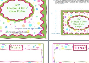 Doodles and Dots Pink and Green Name Plates
