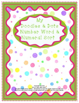 Doodles and Dots Pink and Green Number Words and Numeral Sort