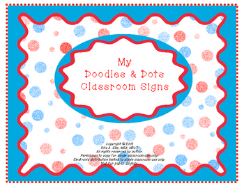 Doodles and Dots Red White and Blue Class Signs