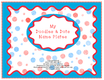 Doodles and Dots Red White and Blue Name Plates