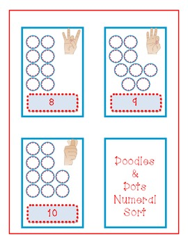 Doodles and Dots Red White and Blue Number word and Numeral Sort