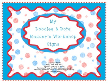 Doodles and Dots Red White and Blue Readers Workshop Signs