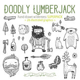 Doodly Lumberjack Clip Art Set, Woodland Clip Art, Bigfoot Yeti Camping Clipart