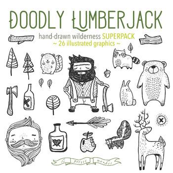 Doodly lumberjack clip art set woodland clip art bigfoot for Doodly free