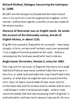 The Domesday (Doomsday) Book Handout