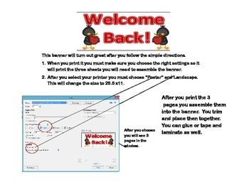 "Door Banner or Bulletin Board ""Welcome Back!"" Back to School Crow Theme"