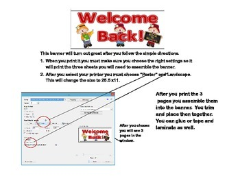 """Door Banner or Bulletin Board """"Welcome Back!"""" Back to School Scarecrow Theme"""