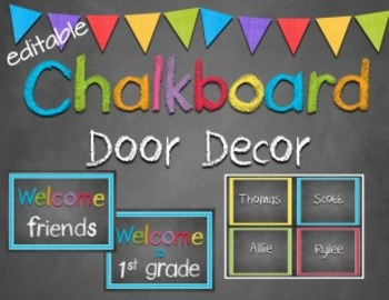 Door Decor ~ Chalkboard theme ~ Editable