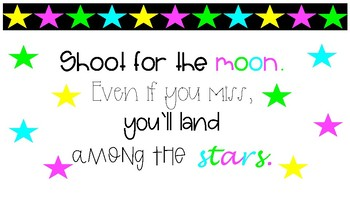 Classroom Display Coloured Stars - Shoot for the Moon