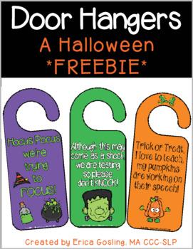 Door Hangers - A Fun Halloween FREEBIE!