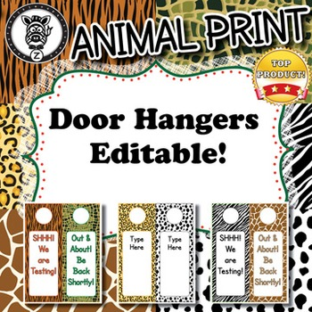 Door Hangers  - Animal Print - ZisforZebra - Editable!