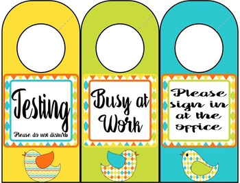 Door Hangers (Bird Theme)