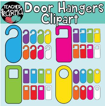 Door Hangers Clipart: Rainbow Colors