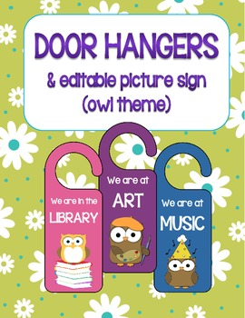 Door Hangers and Picture Sign - Editable (owl theme)