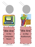 Door Knob Hangers - We are at the library, computer room, etc.