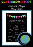CLASSROOM DECOR - Door Sign (Rainbow Flags) EDITABLE