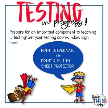 Door Signs: Testing in Progress Superhero Theme