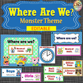 EDITABLE Where We Are At Door Signs and Display - MONSTERS Themed - 2 Styles
