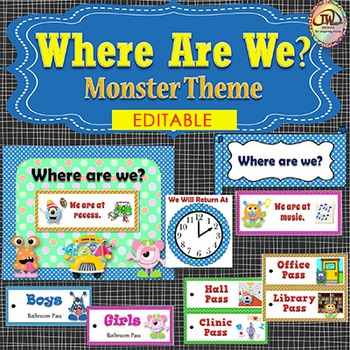 Where We Are At Door Signs Monster Theme EDITABLE