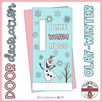 "Door decoration: ""Olaf winter."" ENGLISH & SPANISH"