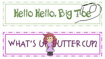 "Door or Classroom Signs ~ 10 Fun/Silly Ways to Say ""HI""~   FREE~~"