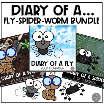 """Doreen Cronin """"Diary of a...Spider, Fly and Worm"""" Book Companion Bundle"""